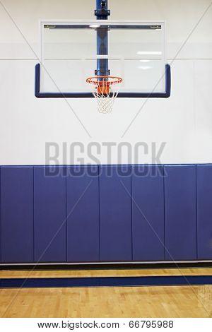 Empty Basketball Court In Gymnasium