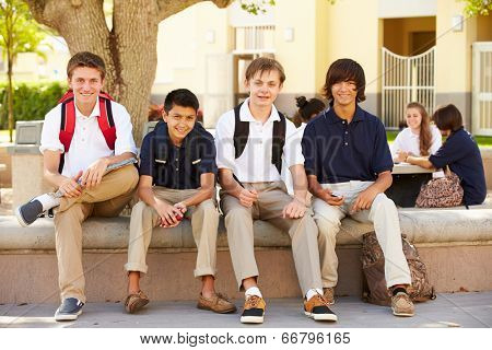 Male High School Students Hanging Out On School Campus