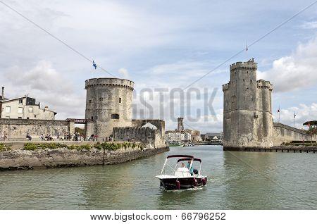 Walled Entry Port Of La Rochelle In France