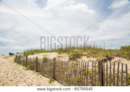 Beach Umbrellas Past Fence And Sand Dunes