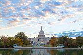 pic of capitol building  - Autumn colors at dawn around US Capitol building in Washington DC - JPG