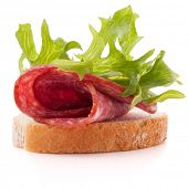 stock photo of butter-lettuce  - sandwich with salami sausage on white background  cutout - JPG