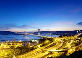 picture of hong kong bridge  - Tsing Ma Bridge sunset  - JPG