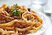 stock photo of spaghetti  - spaghetti bolognese pasta with tomato beef sauce  - JPG