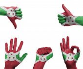 pic of burundi  - A set of hands with different gestures wrapped in the flag of Burundi - JPG