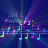 stock photo of nursery rhyme  - Colorful notes sheet music cheerful musical concept background illustration glowing light - JPG