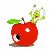 image of caterpillar cartoon  - Cartoon illustration of funny scene with caterpillar and apple - JPG