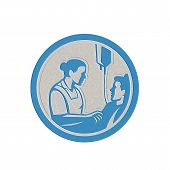 stock photo of intravenous  - Metallic styled illustration of a nurse tending a sick patient in bed with iv intravenous drip in background set inside circle done in retro style - JPG