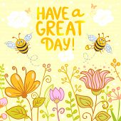stock photo of bee cartoon  - beautiful card with funny and cute cartoon two bees and flowers - JPG