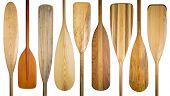 picture of paddling  - 9 wooden canoe paddles - JPG