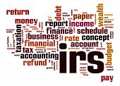 stock photo of irs  - IRS word cloud image with hi - JPG