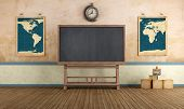 image of classroom  - Old classroom with blackboard and vintage objects  - JPG