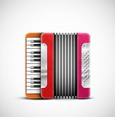 stock photo of accordion  - Isolated colorful accordion - JPG