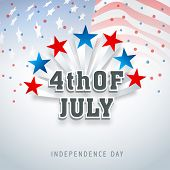stock photo of waving  - American Independence Day celebrations with colorful stars and stylish text on flag waving background - JPG