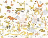 stock photo of jungle snake  - seamless pattern of jungle life  - JPG