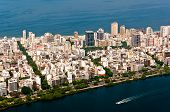 stock photo of ipanema  - Aerial View of Ipanema District between Ocean and Lake in Rio de Janeiro - JPG
