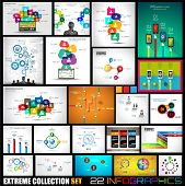 stock photo of graphs  - Collection of 22 Infographics for social media and clouds - JPG