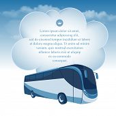 foto of motor-bus  - Passenger bus moving under the blue sky and white clouds - JPG