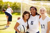 stock photo of pupils  - Members Of Female High School Soccer Team - JPG