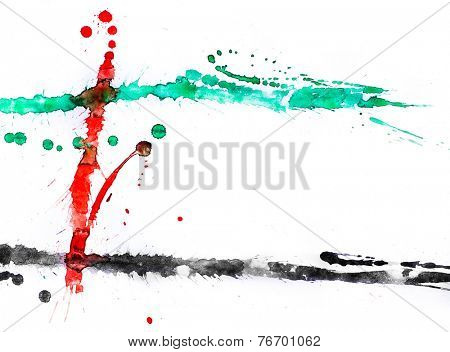 A bold color splashes on white paper. Colors of united arab emirates flag.