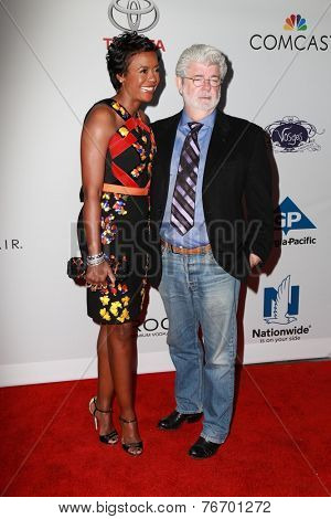 LOS ANGELES - NOV 19:  Mellody Hobson, George Lucas at the Ebony Power 100 Gala at the Avalon on November 19, 2014 in Los Angeles, CA