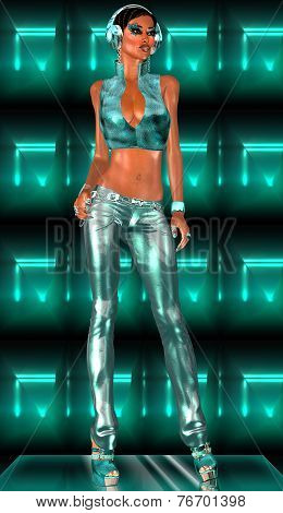 Disco Girl wearing headphones and metallic outfit.
