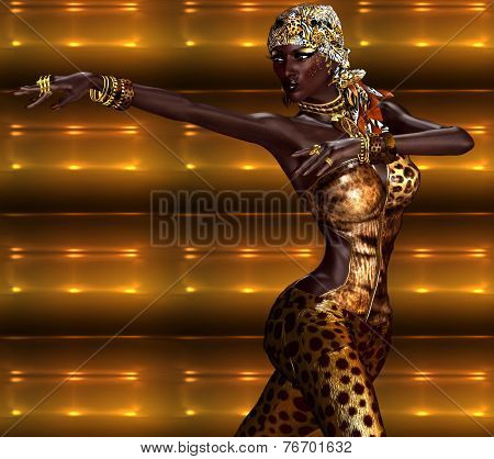 African American Woman in Leopard Print Fashion