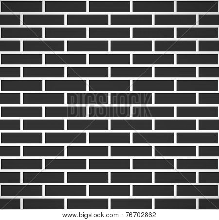 Black brick wall seamless pattern. Simple building stonewall background. Vector illustration
