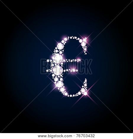 Diamond glittering Euro sign of sparkling brilliants (glitter font concept)