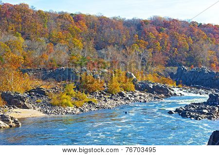 Potomac River with rapids at Great Fall National Park Virginia USA.