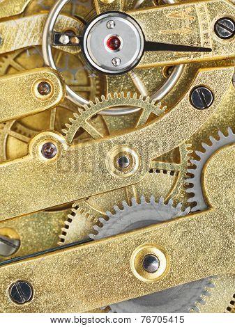 Background From Brass Clockwork Of Vintage Watch