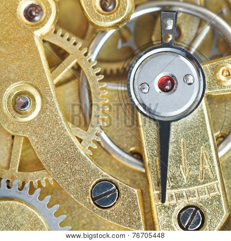 Brass Mechanical Clockwork Of Vintage Clock