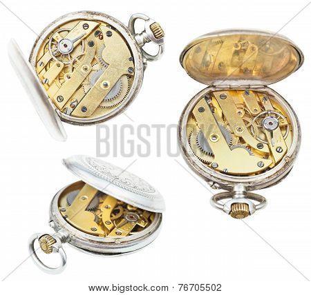 Set Of Open Retro Pocket Clockworks Isolated