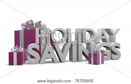 Text of the words Holiday Savings among neatly wrapped gifts