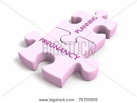 Pregnancy planning puzzle piece concept for women's health