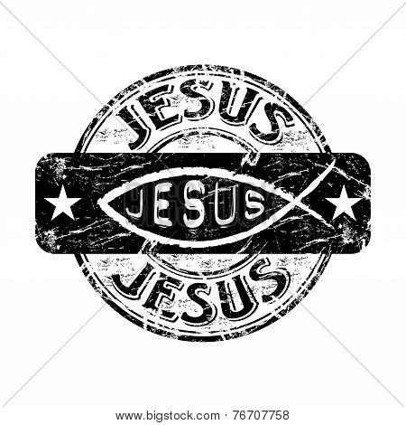 Jesus grunge rubber stamp