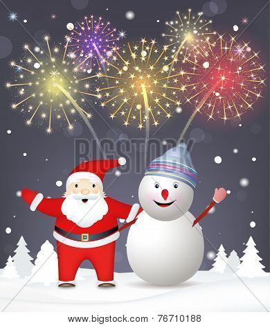 Merry Christmas Background. Santa Claus with snowman. Explosions