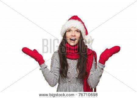 Surprised Christmas Santa woman