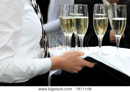 Waitress Served Champagne In A Champagne Reception