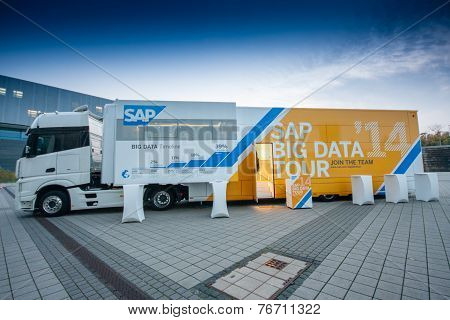 Berlin, Germany - November 11, 2014: Sap Big Data Demo Truck Stands Near Messe Berlin Entrance South