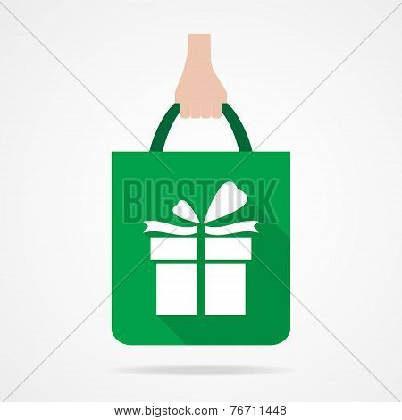 Gift Box On Shopping Bag