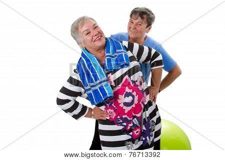Two Senior Women Making Fitness Exercises