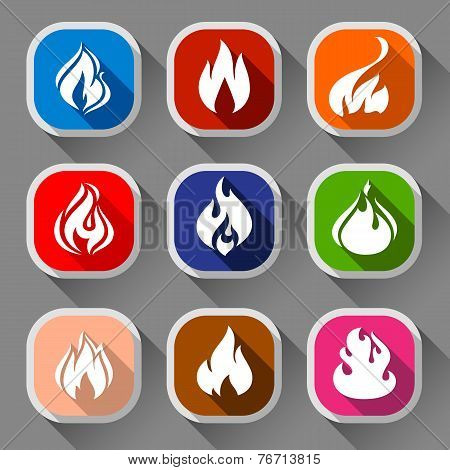 Fire flames, nine icons