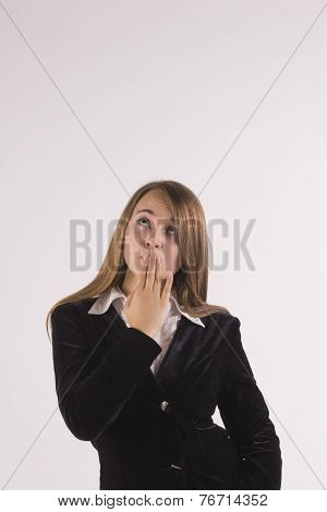 Surprised Business Woman Looking Up