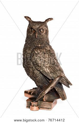 Statuette Bronze Owl With Feather And Book