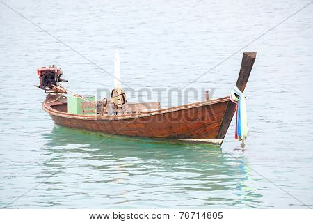 Long Tailed Boat In The Sea