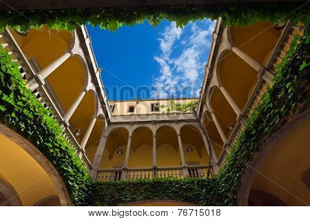 Typical Patio In Barcelona Spain