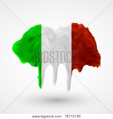 Flag of Italy painted colors