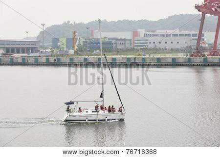 Gimpo, Korea - July 5, 2014: Tour Yacht On The Gyeongin Ara Waterway