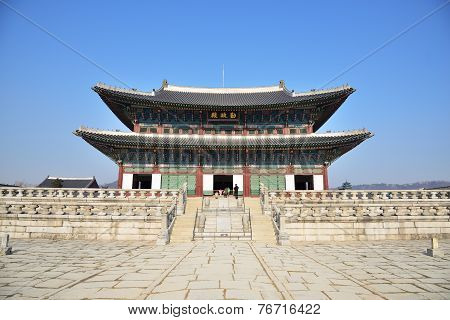 Seoul, Korea - January 06, 2014: Geunjeongjeon In Gyeongbok Palace In Seoul, Korea